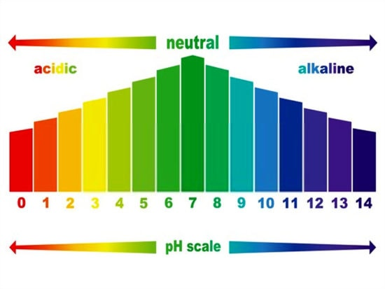 pH value scale chart for acid and alkaline solutions